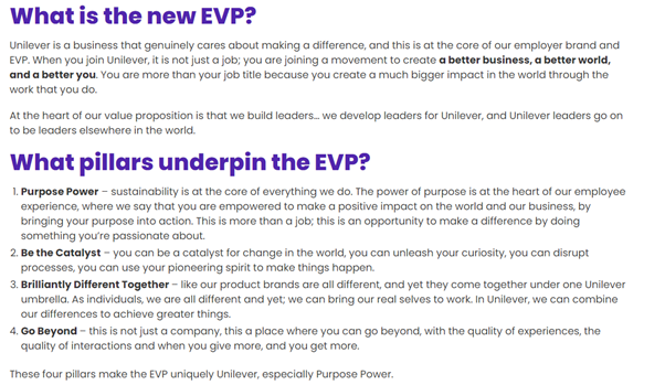 Unilever's Employee Value Proposition or EVP as described by Anuradha Razfdan on the Linkhumans podcast