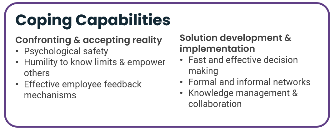 Coping capabilities underpinning organisational resilience - confronting and accepting reality, and developing and implementing solutions