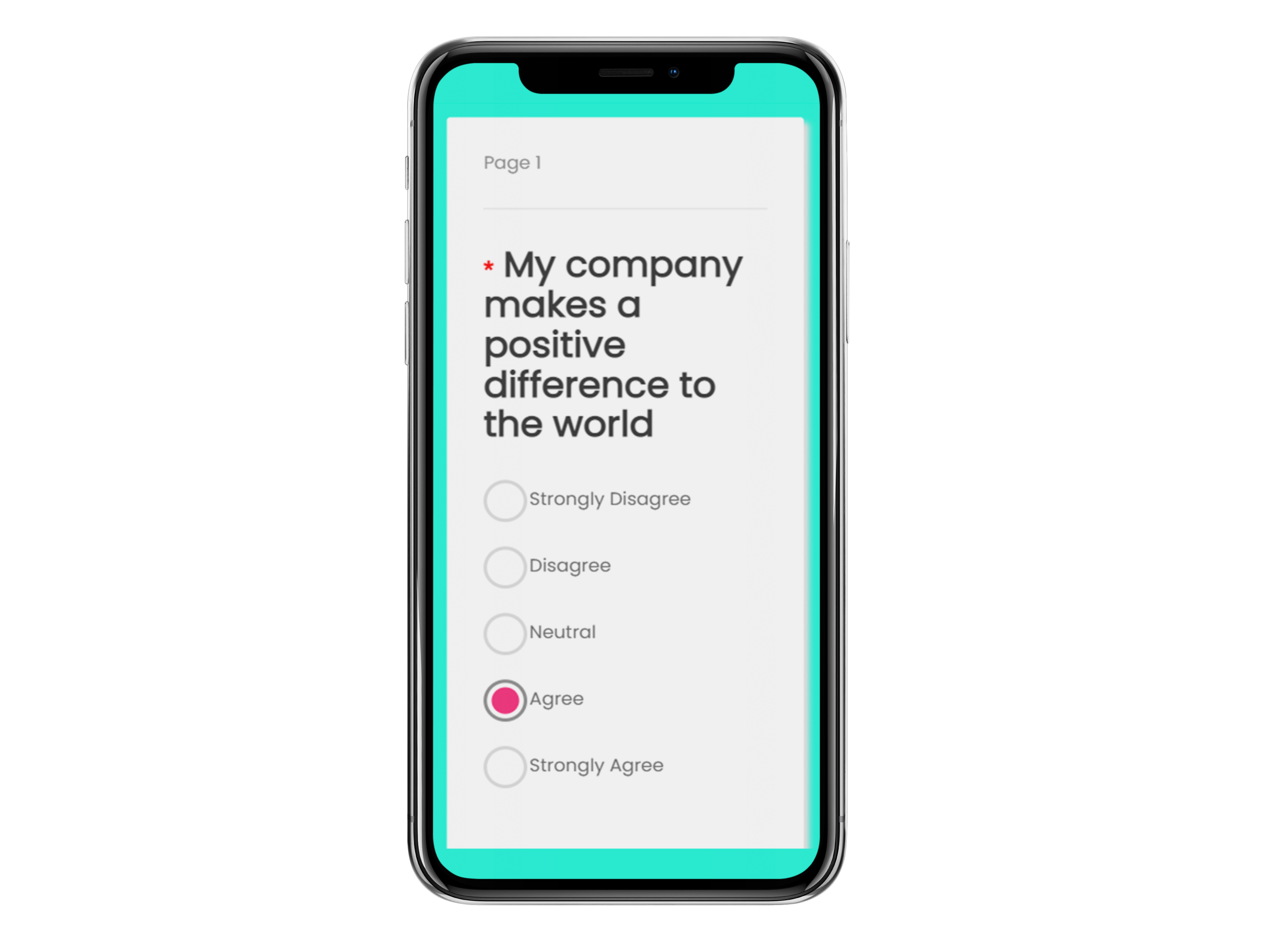 Image of an iphone showing an employee survey